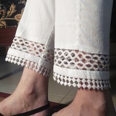 White Pure Cotton Trouser For Women With Laces. Kurti Sleeves Design, Kurta Neck Design, Sleeves Designs For Dresses, Dress Neck Designs, Salwar Pants, Kurta With Pants, Plazzo Pants, Stylish Dresses For Girls, Stylish Dress Designs