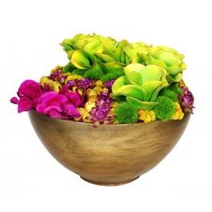 FL1915 Bright Green Kalanchoe, Succulents, Allium Spheres, Pods and Fuchsia Phalaenopsis Orchids in Aged Gold Metal Container.  Finished dimensions: 15
