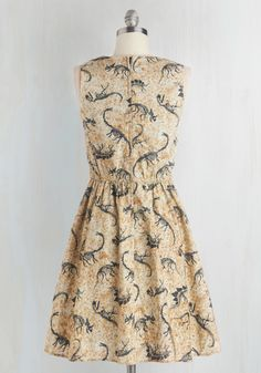 Dino Bones About It Dress. Show off your love for paleontology, as well as fun fashion, with this adorable pocketed A-line. #tan #modcloth