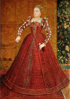 """The """"Hampden"""" portrait, by Steven van der Meulen, ca. 1563. This is the earliest full-length portrait of the queen, made before the emergence of symbolic portraits representing the iconography of the """"Virgin Queen"""".  Her farthingale has not yet become the massive Cartwheel. She wears SHOULDER WIGS/ CRESCENTS, slashed sleeves, and a small ruff."""