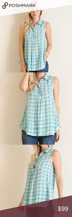 """Entro Plaid Sleeveless Collared Babydoll Top 100% new boutique item.  Plaid sleeveless collard babydoll top featuring three button closure.Non sheer, unlined, woven, light weight. 26.5"""" length front, 29"""" length back.   Sizes available: S, M, L Material: 100% rayon Color: Plaid print with blue and off-white/cream. Measurements: (True to size) (S) 17"""" pit to pit (M) 18.5"""" pit to pit (L) 20"""" pit to pit  Colors may vary slightly from photos No trades Bundle 2 or more items for 15% off entro Tops"""
