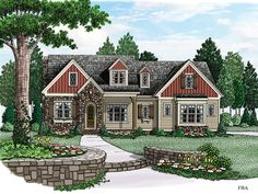 Home Plan HOMEPW77504 - 2715 Square Foot, 4 Bedroom 3 Bathroom + Cottage Home with 2 Garage Bays | Homeplans.com