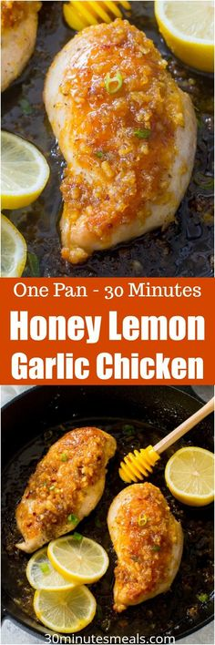 Honey Lemon Garlic Chicken is such a juicy meal made easy in one pan in 30 minutes. Perfectly sticky, aromatic and refreshing, this meal is always a hit. #chicken #dinner #onepan
