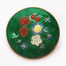 Vintage Einar Modahl Sterling Enamel Norway Brooch/Pendant Mod Floral (Green)