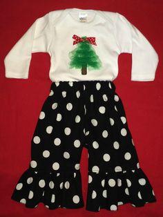 Tulle Christmas tree bodysuit with ruffle pants