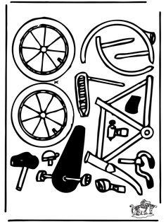Bouwplaat fiets ... Fietsspel onderdelen van de fiets verdienen door opdrachten te doen