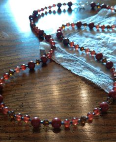 Brownish Red Necklace/Brown necklace/beaded necklace/beaded necklace handmade/necklace by LouisianaBayouBeads on Etsy