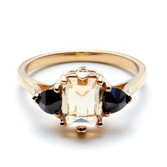 Bea Cocktail Ring ||  Inverted-set Imperial Topaz &  Black Diamond in Yellow Gold