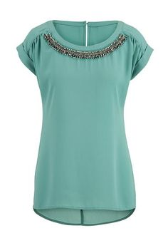 short sleeve chiffon blouse with bead embellishments (original price