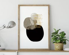 Large Abstract, Minimalistic Painting, Printable Art, Art to download, Large Art Prints, 16x20 print, A1 Print, Black and Gold, hand painted