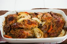 Savory Citrus And Herb Roasted Chicken 1 hour 20 minutes to prepare serves 4-6 Rub: ¼ cup olive oil 4 cloves garlic, minced 2 tablespoons brown sugar 2 tablespoons dried Italian seasoning 1 orange, juiced 1 tablespoon orange zest 1 teaspoon cumin 1 teaspoon paprika 1 teaspoon Kosher salt ½ teaspoon black pepper (or fresh cracked black pepper) ¼ teaspoon red pepper flakes Chicken: 8 pieces of chicken  1 lime, quartered 1 orange, sliced 1 onion, cut