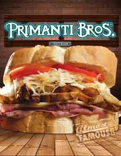 Corned beef, cheese, homemade  french fries, Primanti Bros.® Coleslaw, all on their homemade   Italian bread!!-  -Primanti Brothers -- HOMESICK :( I want one so badly.