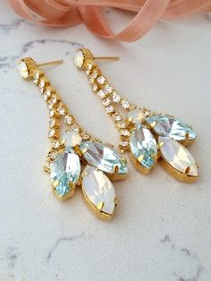 Bridal earrings,Chandelier earring,Navy champgne white earring ...