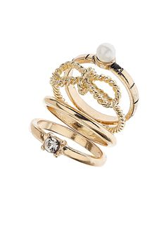 bow and pearl ring stack from dorothy perkins