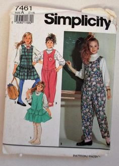 Simplicity Pattern 7461 - Girl's Blouse, Jumper and Jumpsuit,  Size (7-14) by littlerosecreations on Etsy