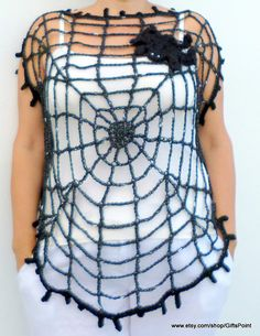Halloween Spider Web Clothing, Gothic  Plus Size  Black Top