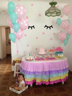 Cumple de umi Unicorn Themed Birthday Party, Rainbow Birthday Party, Birthday Cake Girls, Baby Birthday, Birthday Party Themes, Simple Birthday Decorations, Baby Shower Decorations, Baby Boy Shower, Erdem