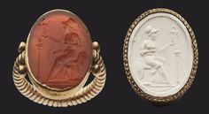 //Sard Intaglio Gem with Athena and Nike  Greek, Late Hellenistic Period, about 50 B.C.