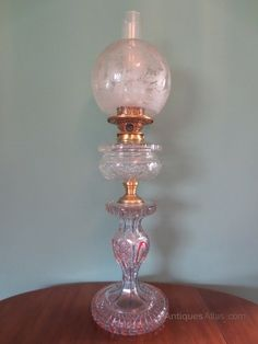 Antiques Atlas - Victorian 19thC Blue & Red Overlay Glass Oil Lamp