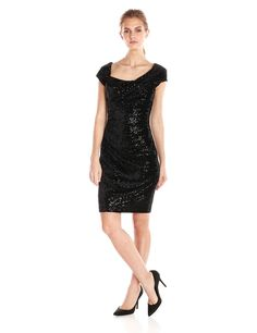 Jessica Simpson Women's Sequin Velvet Cap-Sleeve Dress with Side Ruching at Amazon Women's Clothing store: