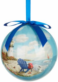 Scenic beach picture Christmas ornament... http://www.completely-coastal.com/2016/11/coastal-beach-nautical-christmas-online-shopping.html  Sold by Bealls, featured on Completely Coastal.