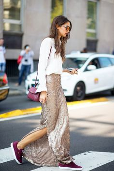 Street Style: A Sporty Chic Way To Wear A Sequined Skirt | Le Fashion | Bloglovin'