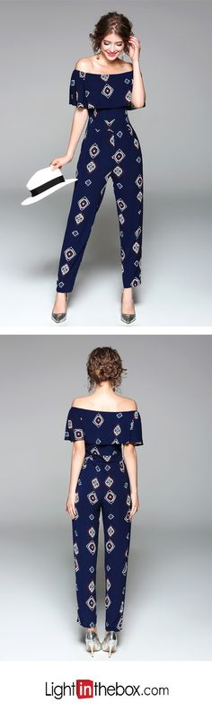 Women's Going out Casual/Daily Holiday Simple Sexy Print Boat Neck Jumpsuits