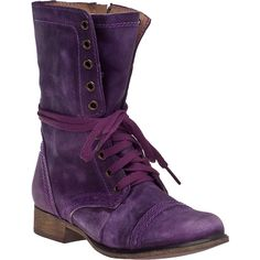 STEVE MADDEN Troopa Combat Boot Purple Leather (130 CAD) ❤ liked on Polyvore featuring shoes, boots, ankle booties, sapatos, combat boots, ankle boots, purple leather, short boots, leather ankle boots and short heel booties
