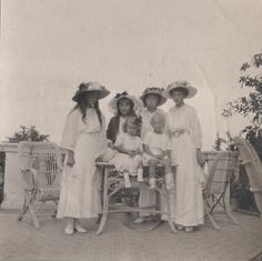 OTMA with two of their Greek cousins (children of Princess Alice of Greece - Margarita, Princess of Hohenlohe-Langenburg  Theodora, Margravine of Baden), 1913