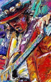 "Contemporary Palette Knife Portrait ""Stevie Ray Vaughan Number One"" by Texas artist Debra Hurd"