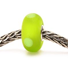 Authentic Glass/Silver Trollbead  Green Sand Very Rare, Retired