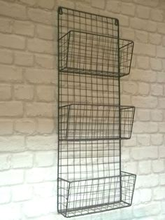Vintage Industrial Style Metal Wall Unit Magazine Letter Rack Storage Basket NEW