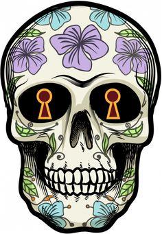 Sticker Calavera - Tete De Mort Mexicaine 15 - ref.d7453 | MPA Déco                                                                                                                                                                                 Plus