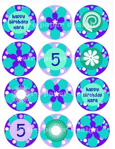 Cupcake topper printable diy by GarrityDesign on Etsy