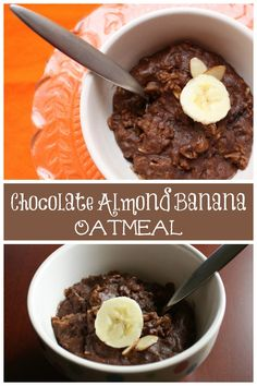 Chocolate Almond Banana Oatmeal - a healthy breakfast that tastes like dessert! | via @cupcakekalechip