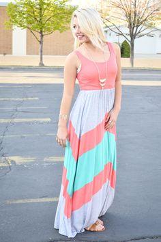 Coral Chevron Maxi Dress - My Sisters Closet