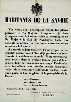 """Manifesto che annuncia agli abitanti della Savoia la """"réunion"""" alla Francia."""