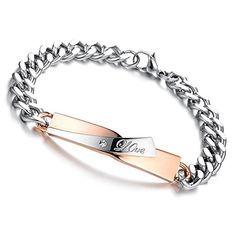 d5126c0e95 Flongo 2pc Bracelet Acier Inoxydable Lien Poignet Love Couple Amour  Valentin Anniversaire Mariage Poli Chaine de main Charme Fantaisie Bijoux  Cadeau Couleur ...