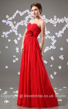 Alluring Red Sweetheart Floor Length A-line Bridesmaid/Evening Dress
