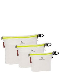 Ultralight packing organization. These three packing sacs weighs in at less than 2.2 ounces cumulatively. Made of Silnylon, these sacs are made of the same translucent fabric that is used to make ligh