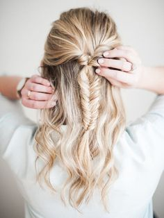 fishtail braid hair tutorial Fearless Authentic bridal hairstyle inspiration ideas for a bride-to-be