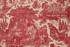 Antique French 18thc red toile 1790 bed cover quilt Turkey red backing  www.textiletrunk.com