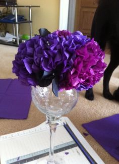 DIY tissue paper centerpiece..tutorial included NOW! :  wedding black centerpiece diy flowers purple reception tissue paper Flower. Click on centerpiece category in reception. will show you 82 pages of centerpieces uploaded from other girls