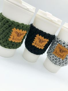 Perfect for hot & cold drinks while spreading some positivity. FREE SHIPPING Continental US & Canada. Secret Santa Gifts, Handmade Wooden, Cold Drinks, Stocking Stuffers, Knits, Bee, Canada, Positivity, Cozy