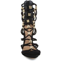 FIYONA SCHUTZ ($290) ❤ liked on Polyvore featuring shoes, sandals, braided gladiator sandals, braided sandals, schutz sandals, high heel sandals and greek sandals