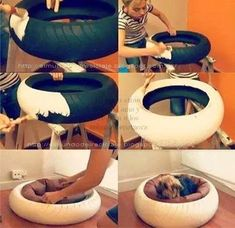 Recycle a small car tire...paint and add a dog bed...warm and cozy for any pet.