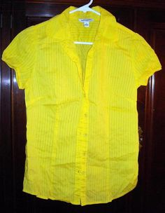 Banana Republic Bright Yellow Blouse with Detailing Size Small Free Shipping Price:US $13.99