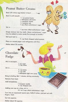 1966 Love these ol cookbook graphics :) Retro Recipes, Old Recipes, Fudge Recipes, Vintage Recipes, Cookbook Recipes, Candy Recipes, Dessert Recipes, Cooking Recipes, Cooking Videos
