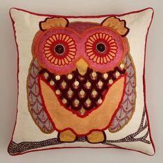 Rust Owl Throw Pillow
