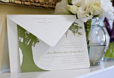 Beautiful invitation with oak tree and Spanish Moss | Savannah, GA - i used this as my save the date.